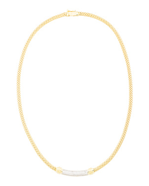 14k Gold Plated Sterling Silver Cz Omega Necklace
