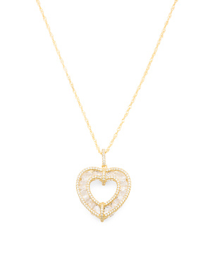 Sterling Silver Caged Cz Heart Necklace
