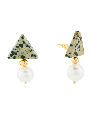 Made In Usa Stone And Freshwater Pearl Earrings