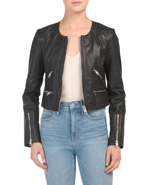 Leather Collarless Cropped Moto Jacket