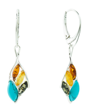 Made In Poland Sterling Silver Amber Turquoise Earrings