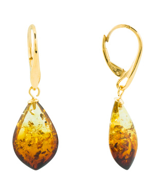 Made In Poland Sterling Silver Baltic Amber Drop Earrings