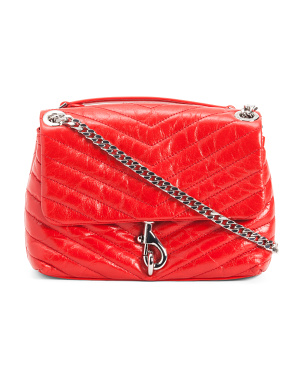 Edie Quilted Leather Crossbody With Chain Detail