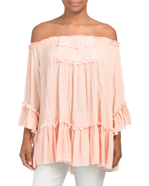 Juniors Off The Shoulder Crinkle Sleeve Top