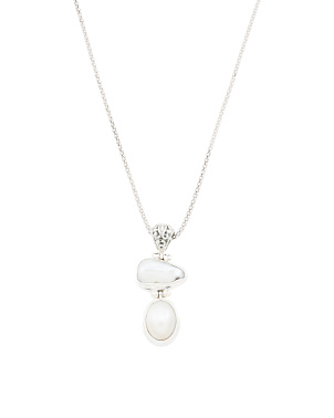 Made In Bali Sterling Silver Double Pearl Necklace