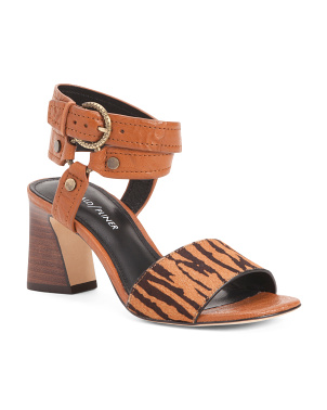 Zebra Haircalf Heeled Leather Sandals
