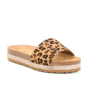 One Band Animal Flatform Leather Slide Sandals