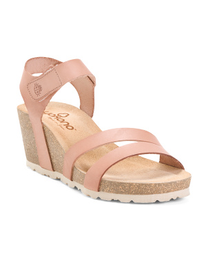 Made In Spain Velcro Band Leather Wedges