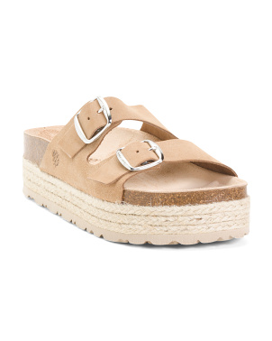 Made In Spain Leather Platform Espadrille Sandals