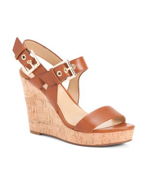 Leather Cork Buckle Wedge Sandals