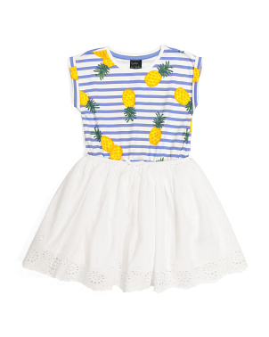 Girls Pineapple Eyelet Dress