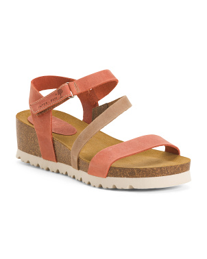Made In Spain Asymmetrical Velcro Ankle Strap Leather Sandals