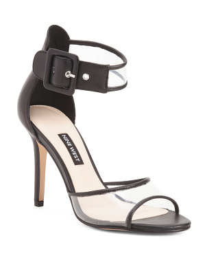 Double Strap Leather Vinyl Dress Heel