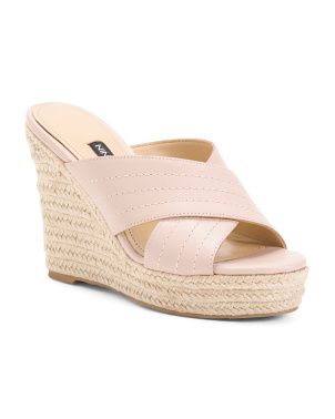Espadrille Wedge Leather Slide Sandals
