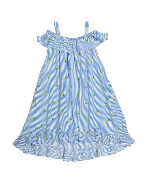 Girls Pineapple Hi-lo Cold Shoulder Dress