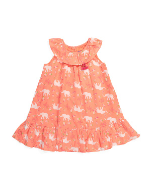 Toddler Girls Elephant Ruffle Dress