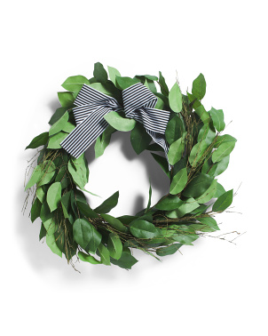 24in Rose Leaf Wreath With Bow