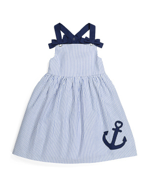 Girls Seersucker Anchor Dress