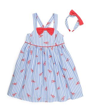 Girls Strappy Lobster Dress With Headband