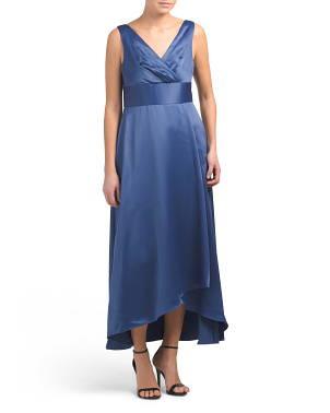 Petite Sleeveless V-neck Wrap Gown