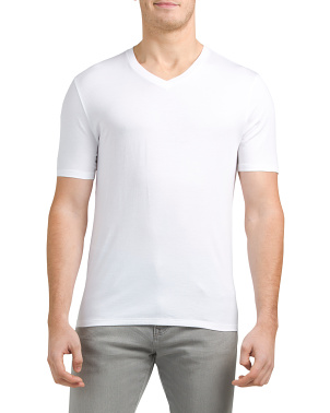 Short Sleeve Pima Cotton V Neck Tee