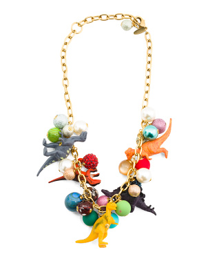Handmade In Usa Gold Plated Dino Bauble Necklace
