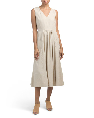 Petite Sleeveless V-neck Linen Midi Dress