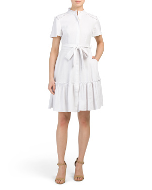 Petite Linen Dress With Ruffle Hem