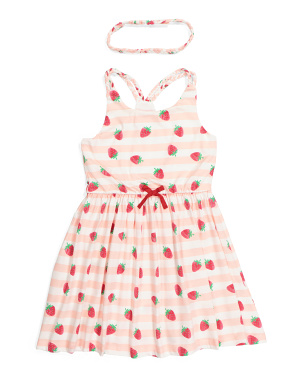 Girls Braided Strap Strawberry Dress