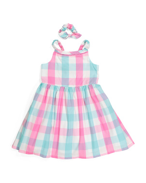 Girls Gingham Dress With Scrunchie