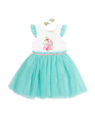 Girls Unicorn Tutu Dress With Hair Clips