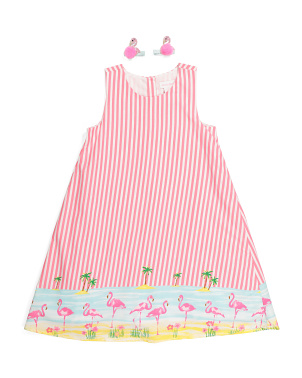 Girls Flamingo Border Shift Dress With Hair Clips
