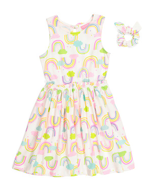 Girls Rainbow Dress With Scrunchie