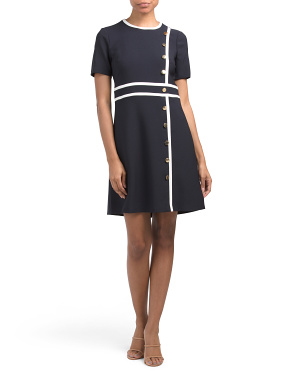 Petite Dress With Contrast Piping