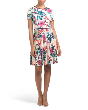 Petite Floral Dress With Pleated Skirt