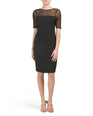 Petite Midi Sheath Dress With Illusion Neckline