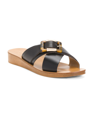 Made In Italy Leather Tortoise Buckle Sandals