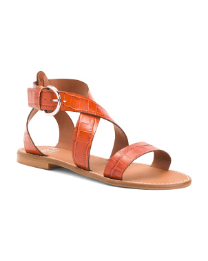 Made In Italy Croc Embossed Leather Sandals