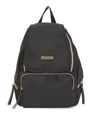 Flap Front Nylon Backpack With Zip Pocket
