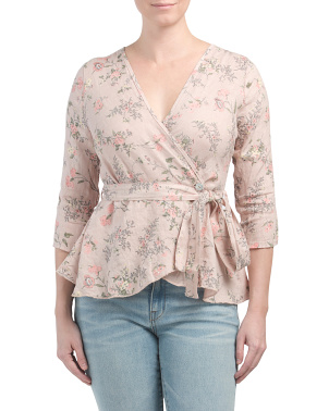 Made In Italy Floral Print Linen Wrap Top