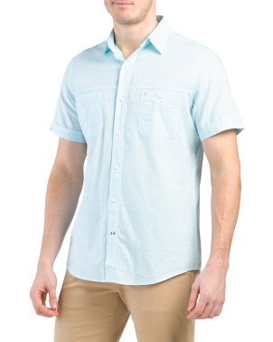 Short Sleeve Solid Dockside Chambray Shirt