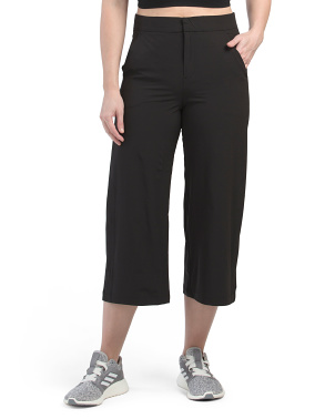 Stretch Woven Open Leg Crop Pants