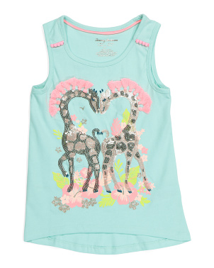 Girls Sequin Giraffe Fringe Tank