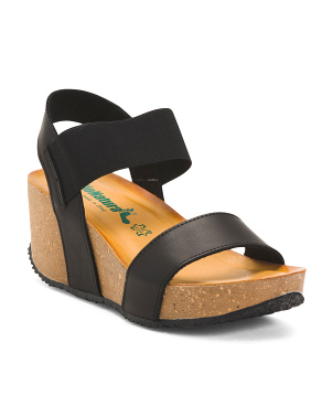 Made In Italy Wedge Leather Sandals
