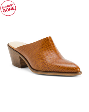 Made In Italy Croco Pointy Toe Leather Mules