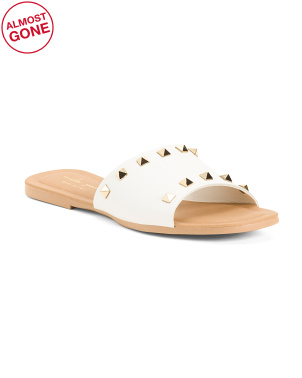 Made In Italy Studded Flat Leather Slide Sandals