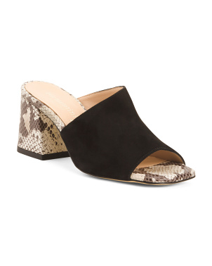 Made In Italy Suede With Snakeskin Print Heels