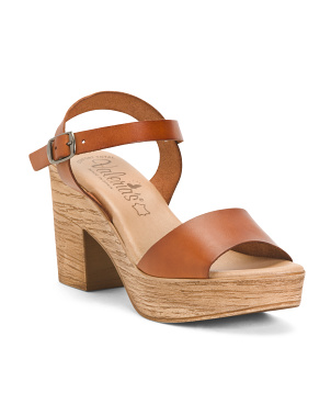 Made In Spain Comfort Wood Heel Leather Sandals