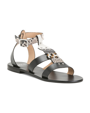 Made In Italy Animal Slingback Leather Sandals