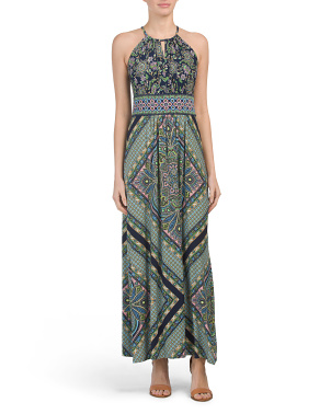 Deco Medallion Printed Jersey Maxi Dress